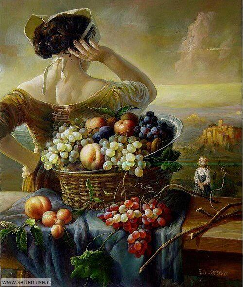 arte e dipinti su frutta-verdura-Elena Flerova