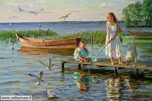 arte e dipinti su mamme-e-bambini-Alexander Averin