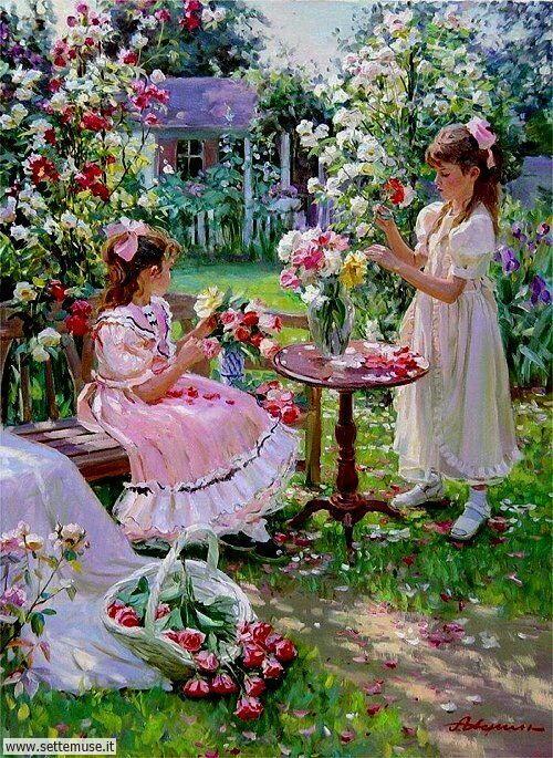 arte e dipinti su mamme-e-bambini-Alexander Averin 3