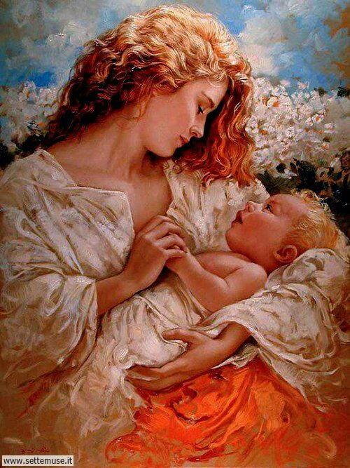 arte e dipinti su mamme-e-bambini-Bruno Di Maio