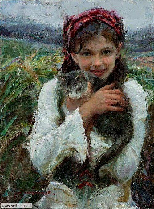 arte e dipinti su mamme-e-bambini-Daniel Gerhartz