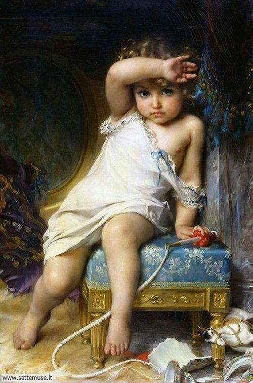 arte e dipinti su mamme-e-bambini-Emile Munier