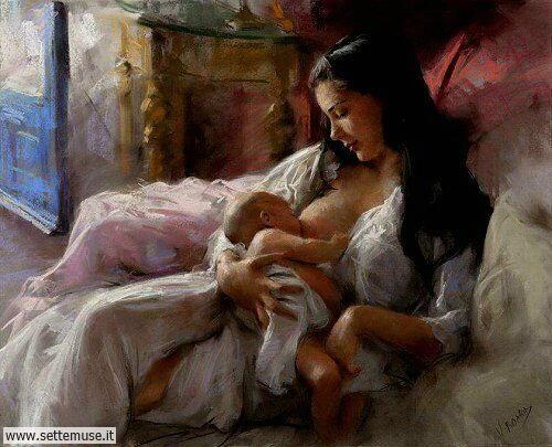 arte e dipinti su mamme-e-bambini-Vicente Romero Redondo