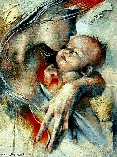 arte e dipinti su mamme-e-bambini-Victoria Stoyanova