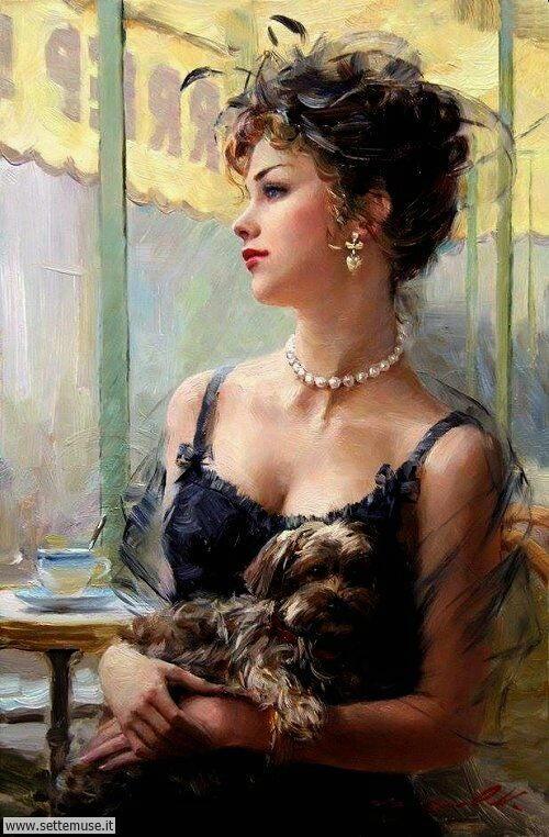 arte e dipinti su ritratti-femminili Konstantin Razumov