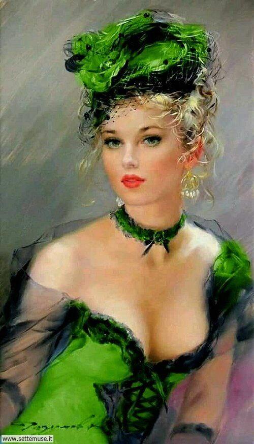 arte e dipinti su ritratti femminili, splendide donne di una volta