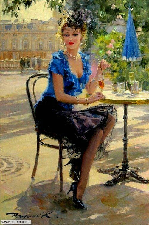 arte e dipinti su ritratti-femminili Konstantin Razumov 5