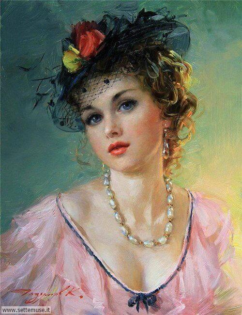 arte e dipinti su ritratti-femminili Konstantin Razumov 7