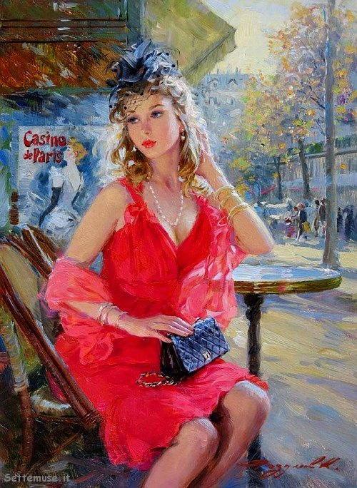 arte e dipinti su ritratti femminili Konstantin Razumov 8