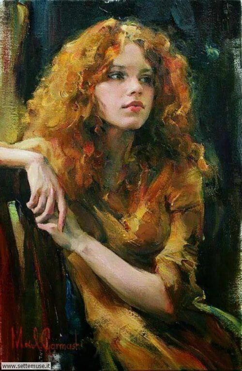 arte e dipinti su ritratti-femminili Michael e Inessa Garmash 3