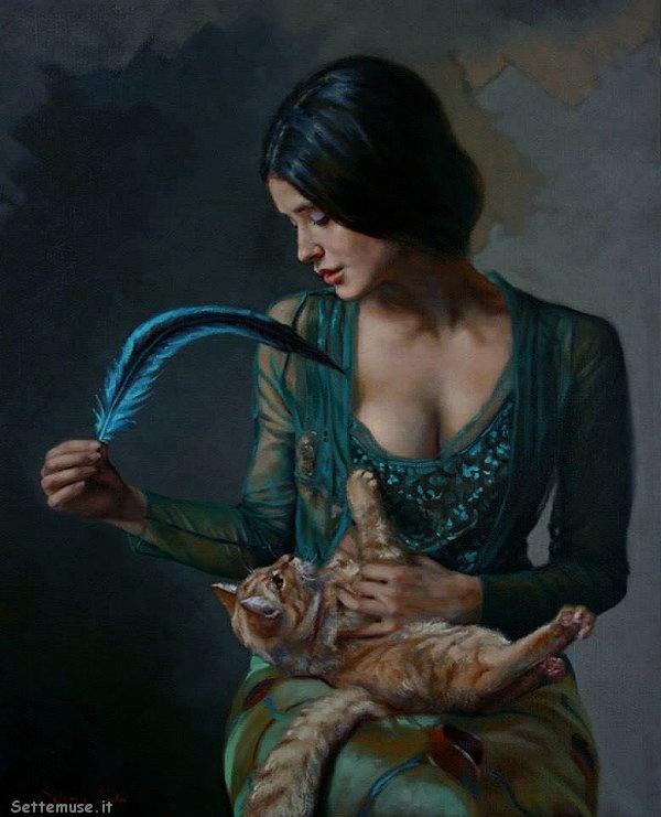 arte e dipinti su ritratti femminili Selene Salvi