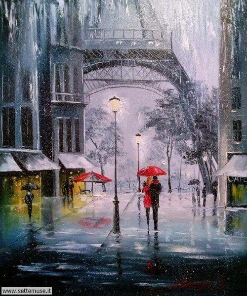 arte e dipinti sul romanticismo, scene di pioggia, amanti