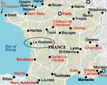 La Rochelle map Francia