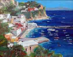 Capri - Marina Grande ripresa da un artista