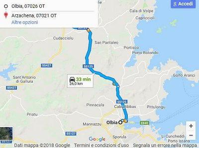 Arzachena mappa come arrivare da Olbia