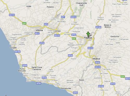 Mappa della Provincia di Ragusa