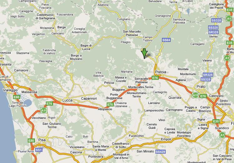 Mappa della provincia di Pistoia