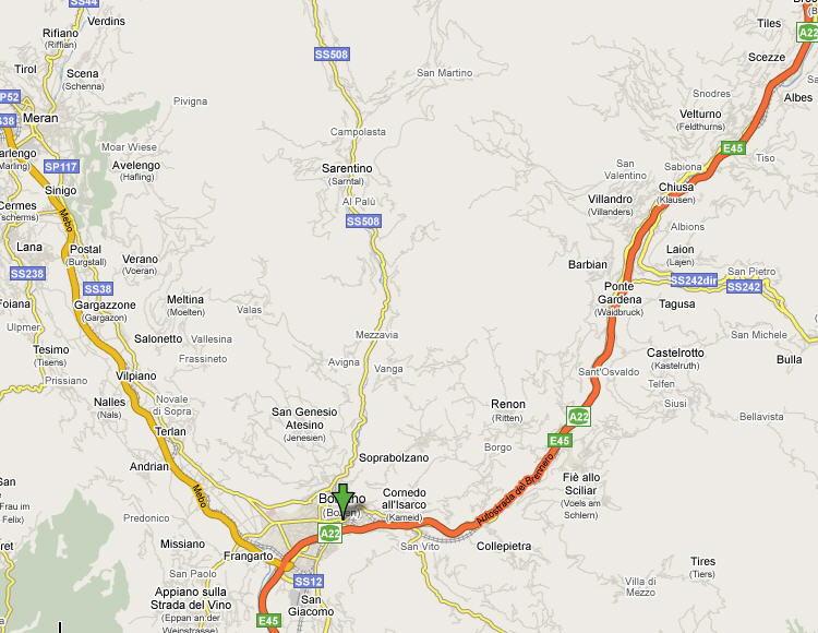 Mappa della Provincia di Bolzano
