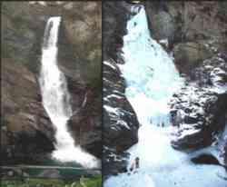 Cascata di Lillaz in estate ed in inverno