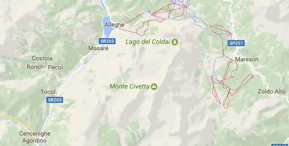 Mappa lago Coldai