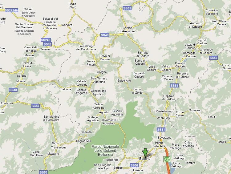 Mappa Provincia di Belluno