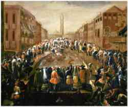 Venezia - Ponte dei Pugni in un quadro di Antonio Stom