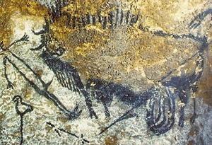 Bisonte ferito che attacca un uomo (15.000-10.000 a.C.) Lascaux, Francia