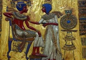 Trono d'oro di Tutankhamon (particolare dello schienale)