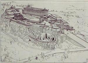 Disegno dell'Acropoli di Atene